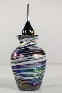alter-Parfum-Flakon-Glas-Irisierend-Stoepsel-Flaeschchen-Jugendstil
