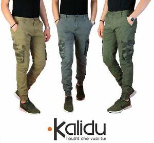 Pantalone-Uomo-Casual-Cargo-Con-Tasconi-Laterali-Mimetici-Multi-Tasche-Cotone-Ve