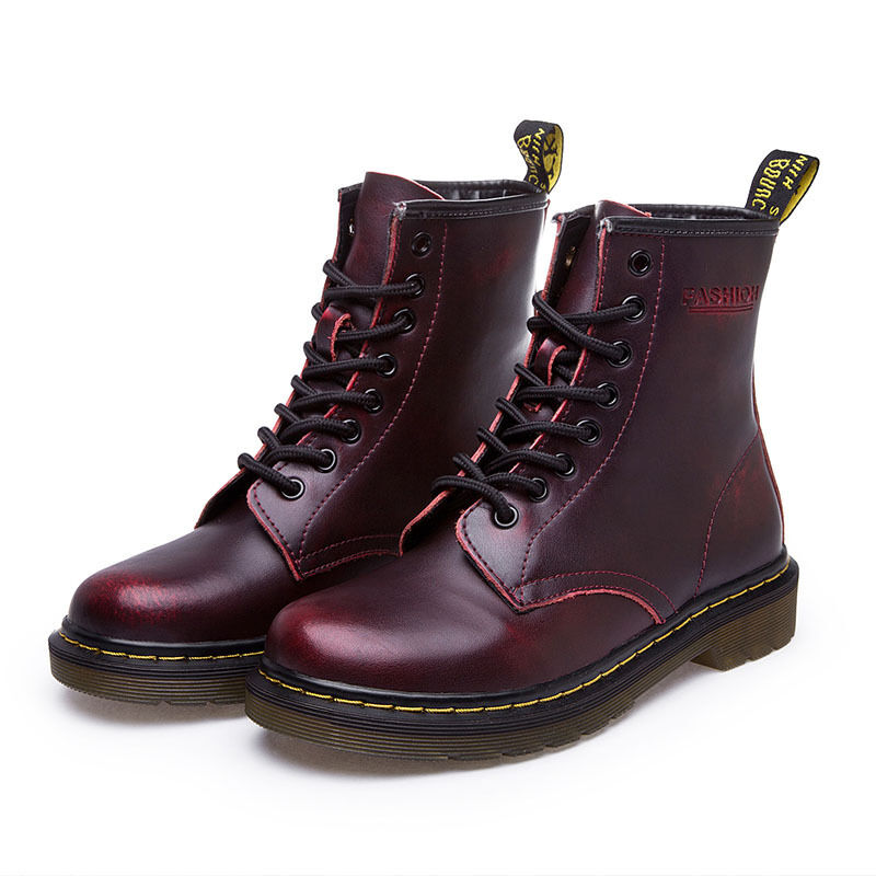 Women Leather Martin Boot Casual Lace Up High Top Shoes Comfy