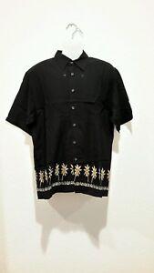 Cambridge-Classics-black-mens-med-Hawaiian-shirt-Rayon-palm-tree-NWOT