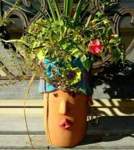 Vintage Lola Hand Painted Ceramic Wine Chiller Planter by Terra Cotta NEW
