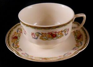 Pareek-Johnson-Bros-England-GUERNSEY-Flat-Cup-amp-Saucer-Set-Blue-Yellow-Pink-Scro