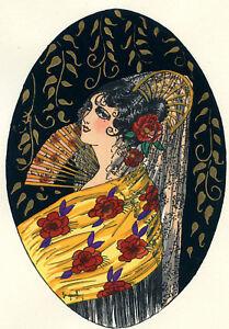 1930s-French-Pochoir-Print-Young-Flapper-Woman-Long-Hair-Net-Fan-Roses-Dress-S