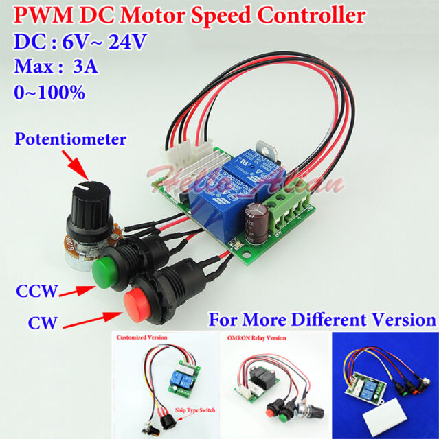 DC 6V~24V 12V 3A PWM DC Motor Speed Controller CW CCW Reversible Switch Module
