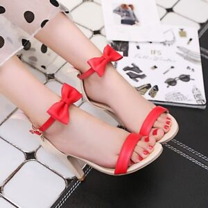 Women-039-s-Bows-Ankle-Strap-High-Heels-Open-Toe-Sandals-Pumps-Buckle-Casual-Shoes