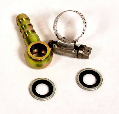 "LarryB's 12mm banjo Fitting with 3/8"" barb, seals & clamp"