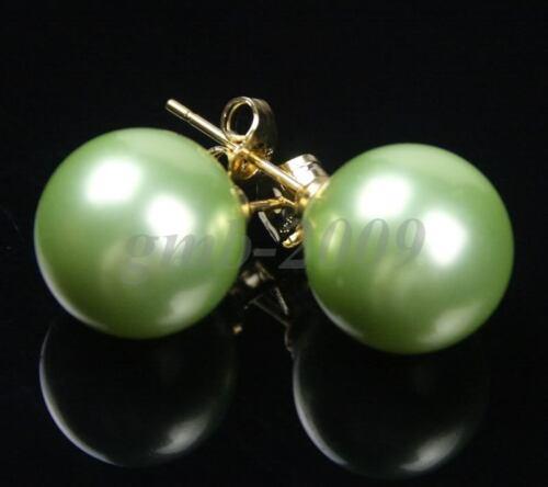 Nouveau 12 mm véritable vert clair South Sea Shell Perle 14K Plaqué or Boucles d/'oreilles Clou