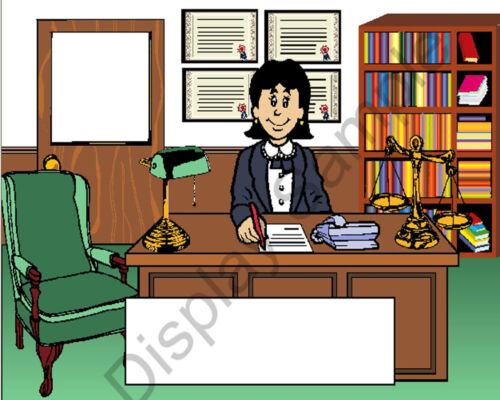 Attorney Female Toon Character Personalized Matted Print  11 x 14