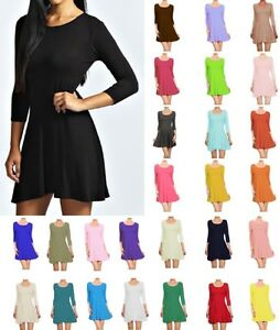 989c076e2bf Image is loading Womens-Skater-Dress-Scoop-Neck-Long-Sleeve-Plus-
