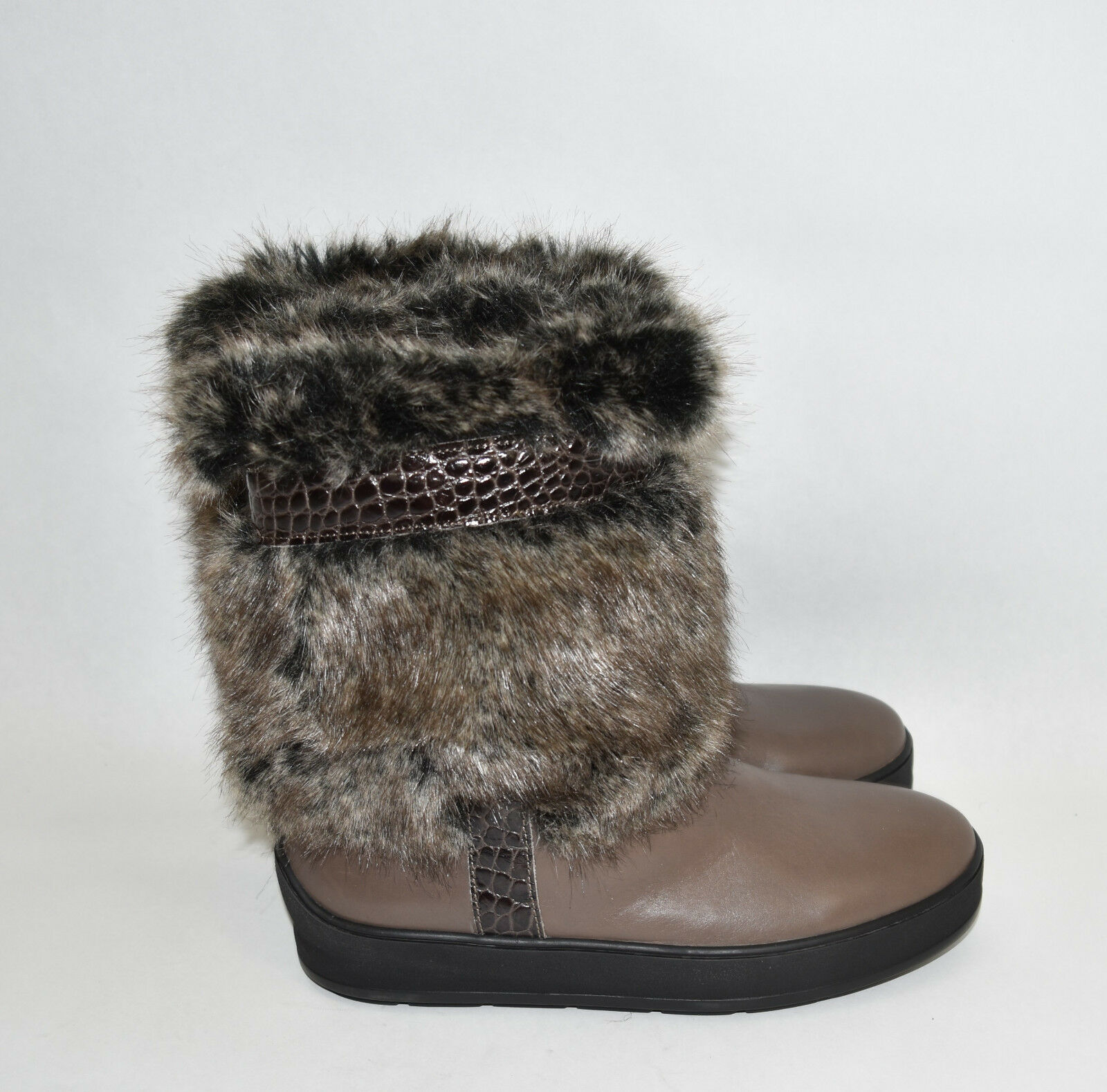 Aquatalia by Marvin K 'Kamila ' Taupe Brown Leather Boots Fur Faux Fur Boots Size 6.5 2df754