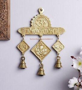 Details About Brass Hanging Bells Hindu God Ganesha Aum Swastika Shubh Labh  Door Home Decor