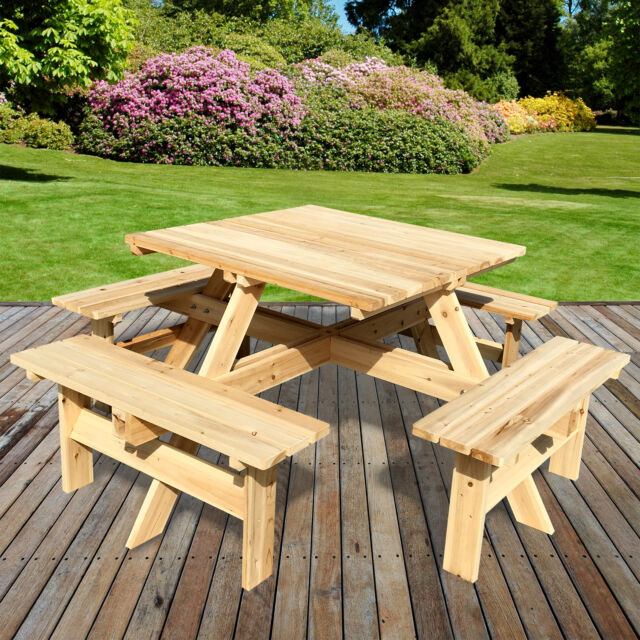 Seater Outdoor Picnic Table Bench Seat Pub Garden Park Playground - Square picnic table with benches