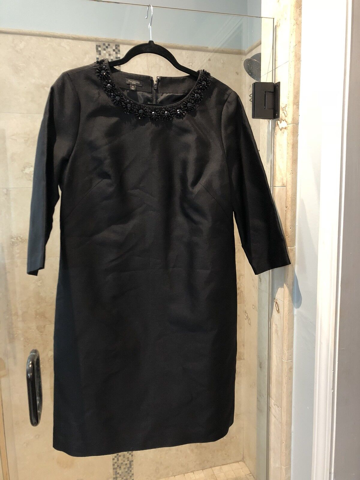 2e4dce01e122d New Talbot s 12 Petite schwarz Party Dress Silk Beaded Sequin 12P Jackie O