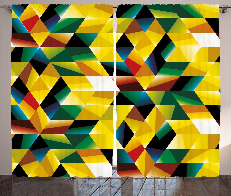 Cortinas de figuras geométricas de Color verde amarillo Ventana Cortinas 2 pulgadas Panel Set 108x84