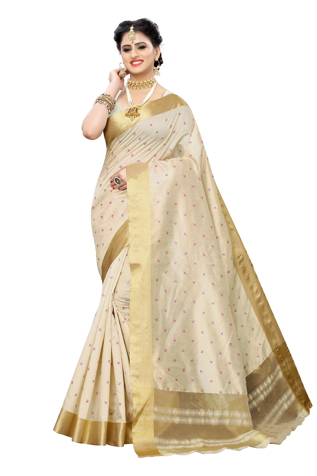 Cotton Polyester Silk Printed Sari Party Wear Cream And Pink Saree For Women