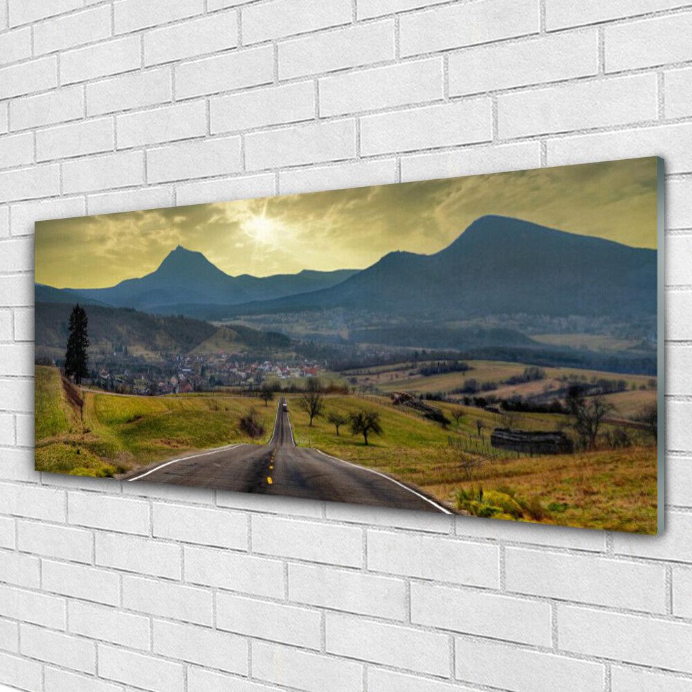 Verre Imprimer Wall Art Image 125x50 Photo route Paysage de montagne