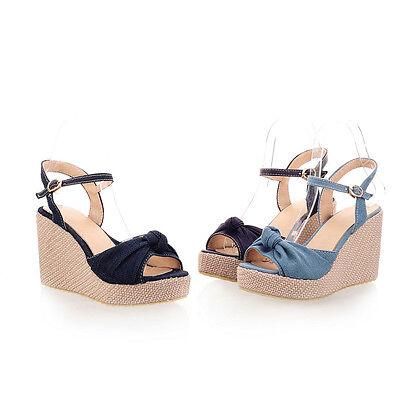 Women's Shoes Denim Bowknot Platform Wedge High Heels Strap Sandals AU Size s795
