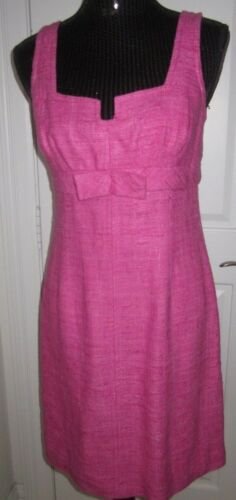 Notch Turk foderato 6 Dress Pink Fushia Bow Nubby Cotton Sz Trina Neckline nYdC1wqC