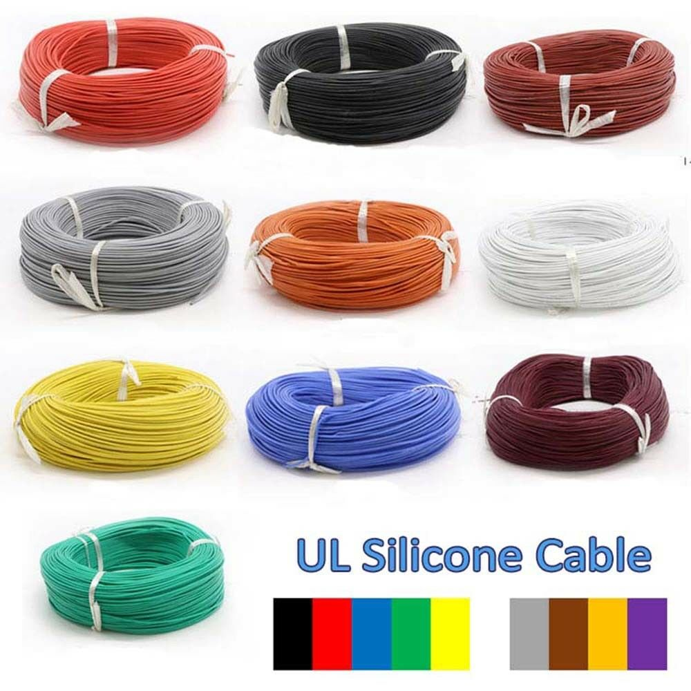 30AWG UL Silicone Cable Flexible Wire 0.08MM Stranded Copper Various Colours
