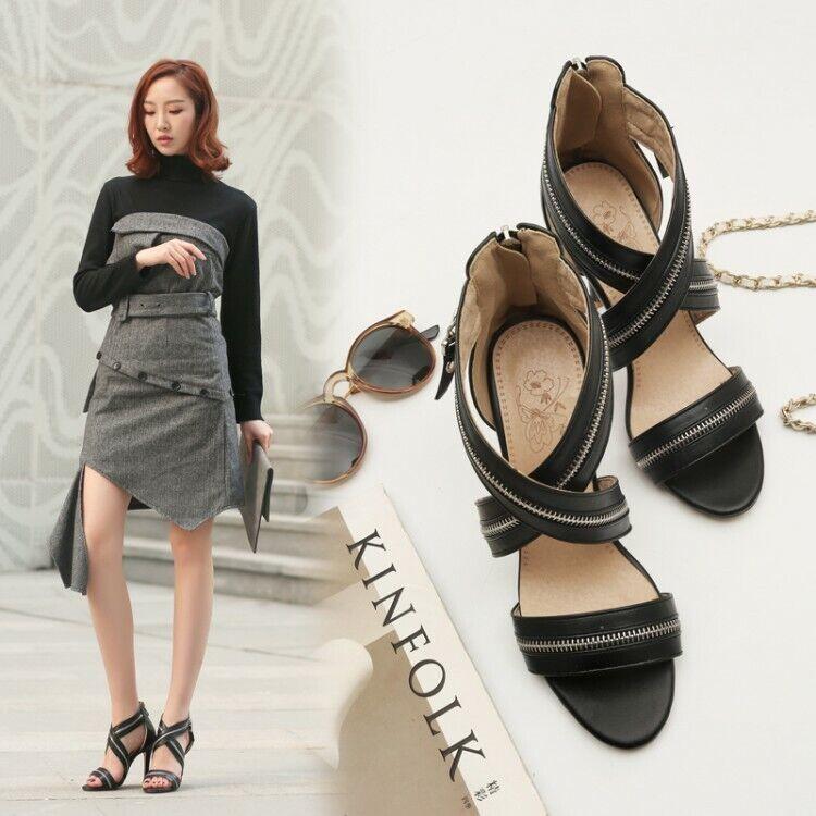 Fashion Women's High Heels Open Toe Pumps Zipper Sandals Cross Strap Party shoes