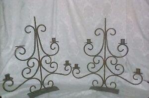 VTG 2 Gold Black Iron Candelabra Victorian Renaissance Baroque Goth Steampunk
