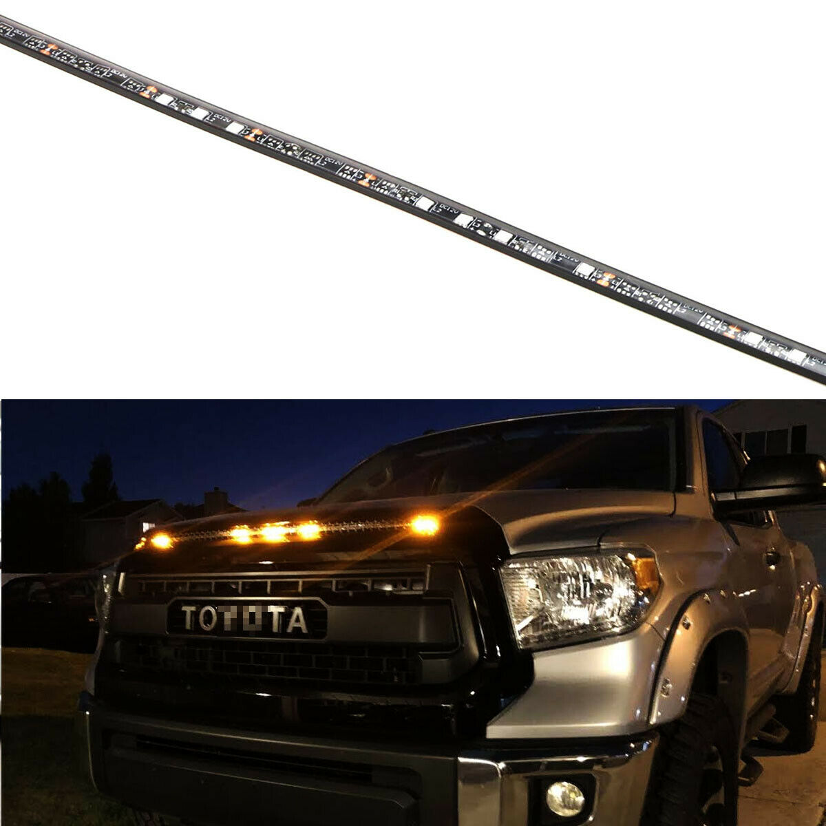 5-Bar/Section Amber Raptor Style LED Hood Bulge Grille Light For Toyota Tundra 10