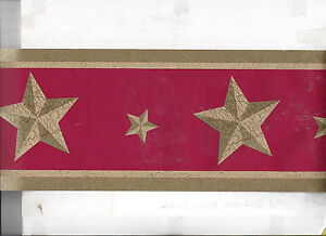 Details About Wallpaper Border Stars On Red Country Americana Patriotic Barn New Primitive