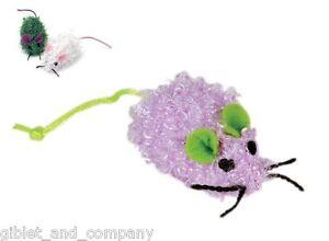 CHENILLE MICE - Sm/Bulk Lots Soft Fuzzy Plush Mice Catnip Cat Toys Asst Colors