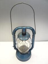 Antique Old Metal Fitzall Loc-Nob Glass Blue Dietz Monarch Tubular Barn Lantern