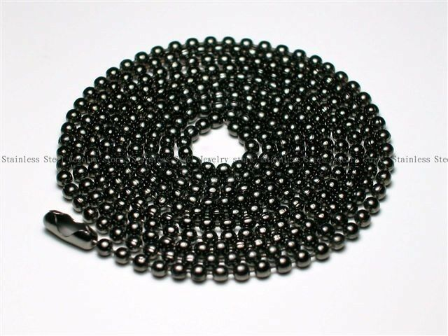 Military Mens Necklace Ball Bead Chain Link Black For Dog Tag & Pendant Fashion