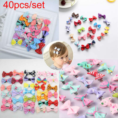 40pcs//lot Baby Girls Kids Children Toddler Mini Flowers Hair Clips Bow Hairpin