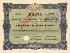 Vereinigte Königs- und Laurahütte Berlin histor. Aktie 1920 OberSchlesien Polen