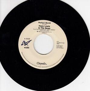 ONE-1988-039-S-45-R-P-M-RECORD-HUEY-LEWIS-amp-THE-NEWS-PERFECT-WORLD-SLAMMIN-039
