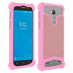 Détails sur Coque bumper antichocs silicone/cuir rose pour smartphone Wiko Harry