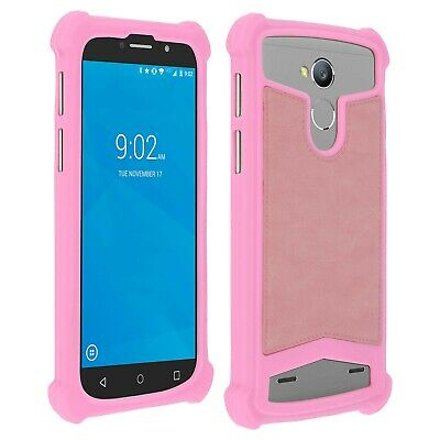 Coque bumper antichocs silicone/cuir rose pour smartphone Wiko Getaway | eBay