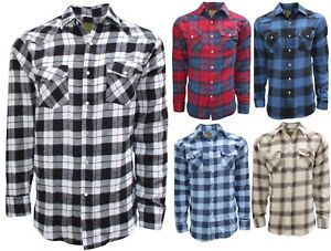 42a2cfd0782b Image is loading Plaid-Flannel-Shirt-for-Men-Long-Sleeve-Western-