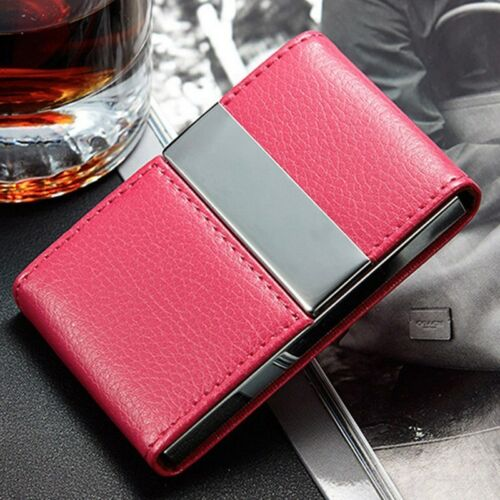 Business Card Case Faux Leather Purse Mini Wallet ID Credit Card Pocket Holder