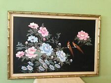 Original CK Chan Signed Sparrow Flower Large Oil on Canvas Painting (Beautiful)