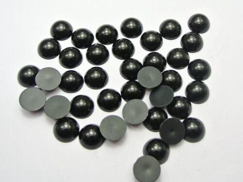 100 Black Acrylic Half Pearl Flatback Round Bead 12mm Scrapbook Craft