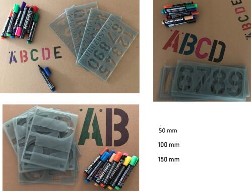 50,100 /&150 mm Alphabet Stencil Numbers Symbols Signwriting 12 Parmanent Marker