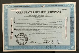 US-GULF-STATES-UTILITIES-COMPANY-STOCK-CERTIFICATE-1953-B9-14-Very-Clean