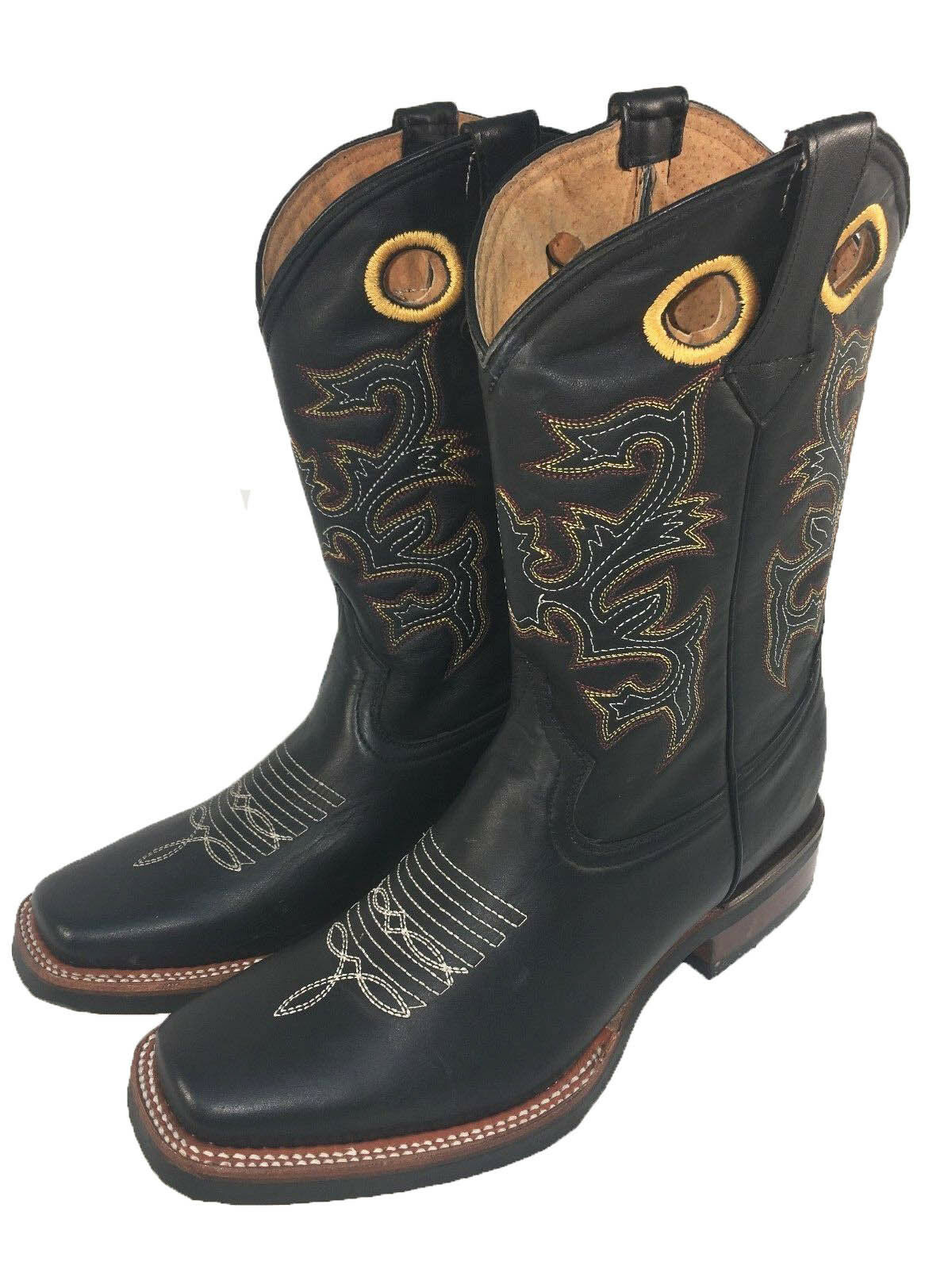 MEN'S RODEO COWBOY BOOTS GENUINE LEATHER WESTERN SQUARE TOE BOTAS VAQUERAS