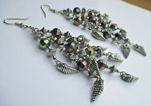 boucles d'oreilles percées long bijou rétro pampille perles couleur argent 2833