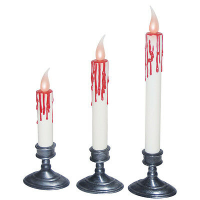 Set of 3 Blood Dripping Flickering LED Candles Lights Halloween Decoration Prop