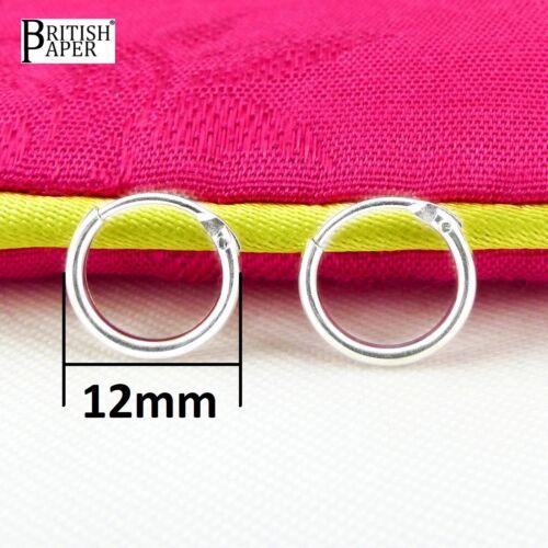 12mm Small Solid 925 Sterling Silver Hoop Sleeper Earrings Nose Rings Studs Clip