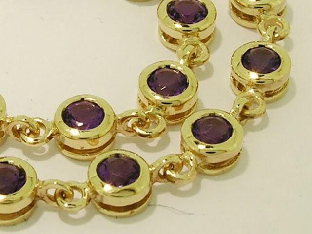 sB090 Genuine 9ct Yellow Gold NATURAL Purple Amethyst Line Tennis Bracelet 18cm
