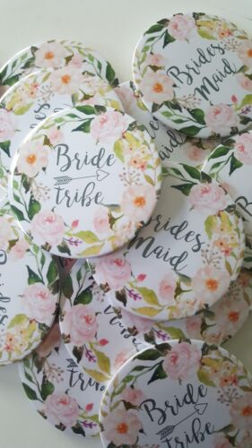 Pale Camellias Floral Hen Magnet Mirror Gift 5for4 Badge Bride Tribe Peach