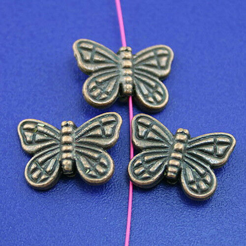 25pcs copper-tone butterfly spacer beads H2110