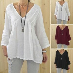 ZANZEA-Women-039-s-Deep-V-Neck-Casual-Shirt-Tops-Loose-Plain-Solid-Blouse-Plus-Tops