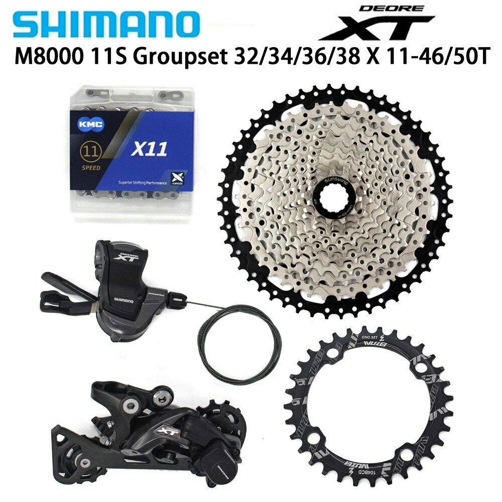 Shimano XT M8000 Bicicleta desviadores 11-46 50T KMC cadena Mountain Bike Groupset 32 34 36 38T